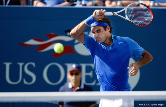 8/27/13 New York, NY, USA; Roger Federer (SUI) [7] hits to Grega Zemlja (SLO) in Ashe Stadium at the USTA Billie Jean King National Tennis Center on day two of the US OPEN Tuesday. Mandatory Credit: Robert Deutsch-USA TODAY Sports